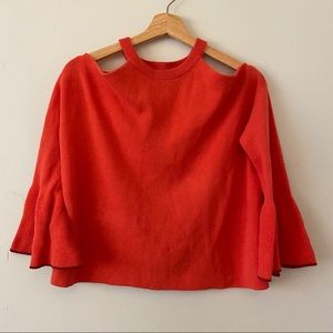 Anthropologie Knitted & Knotted tangerine sweater!